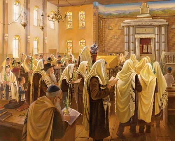 Sukkot In Kfar Chabad Synagogue Alex Levin - Ner Art