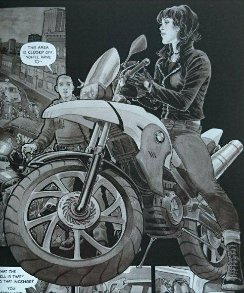 Lederjacke und Motorrad