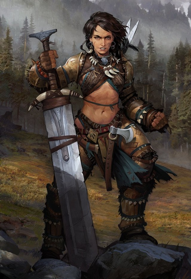 5E D&D barbarian female greatsword