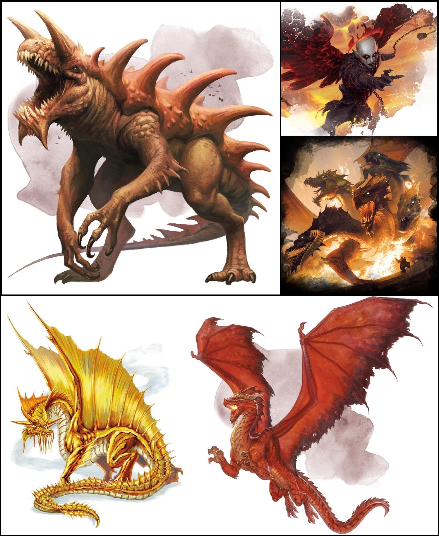 5E D&D monsters hit points tarrasque zariel tiamat gold dragon red dragon