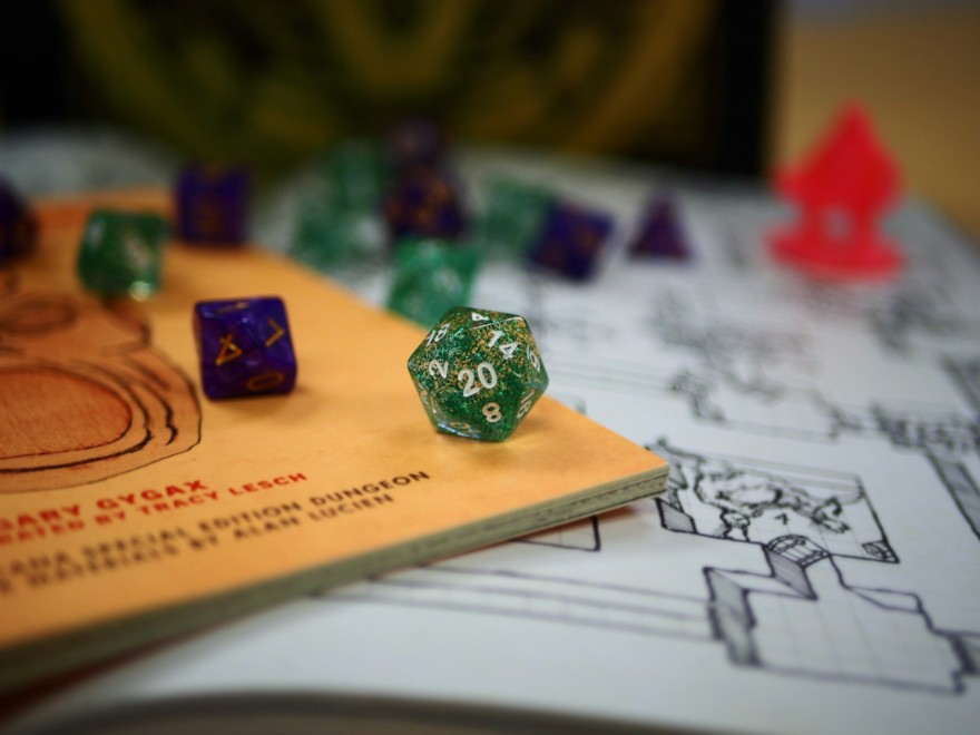Dnd Dice And Map Close Up