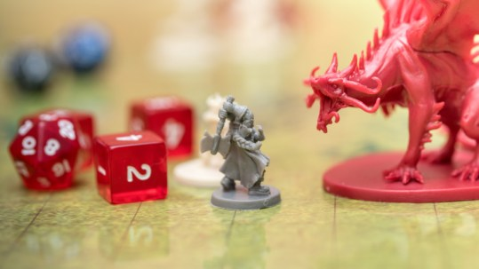 Detail Of Two Miniatures On The Battlefield Of The Role Playing Game Of Dungeons And Dragons.