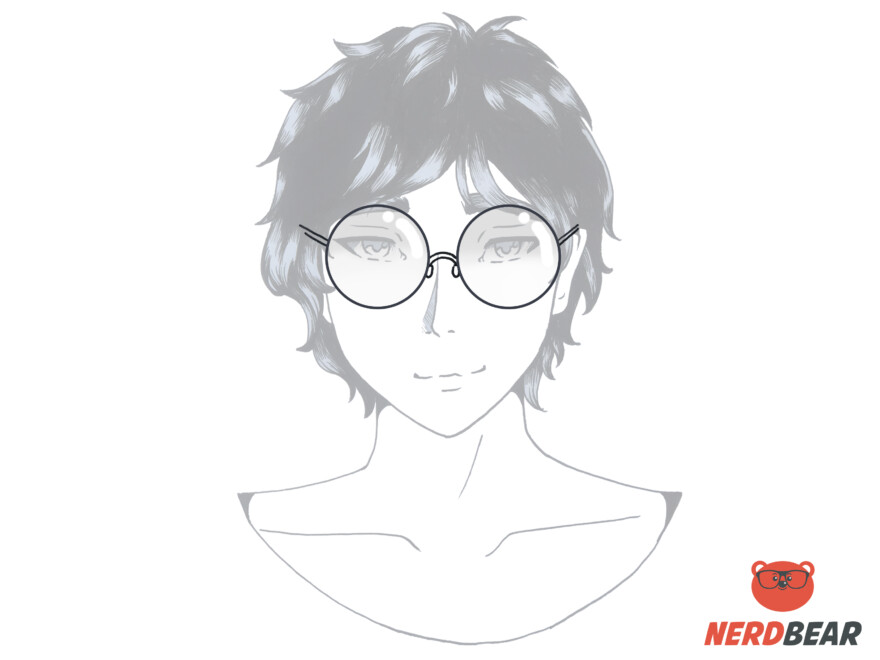 How To Draw Circular Anime Glasses 5