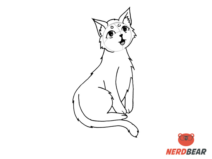 How To Draw A Sitting Anime Cat 9
