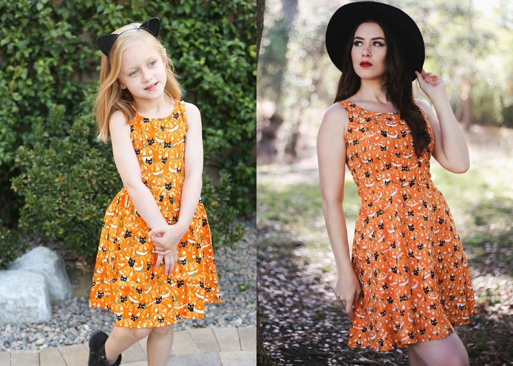 child wearing an orange dress covered in pumpkins and black cats hidden in the pumpkin patch print. image on the right is the same dress on a woman with a black hat.