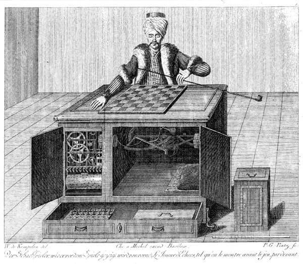 """Satranç oynayan mekanik """"Türk""""ün mucidi Kempelen'e atfedilen bu çizim mekanizma hakkında bize fikir verse de, sistem tam olarak nasıl işliyordu bilinmiyor. (görsel: Wikipedia)"""