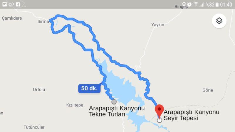 Arapapıştı Kanyonu navigasyon görüntüsü