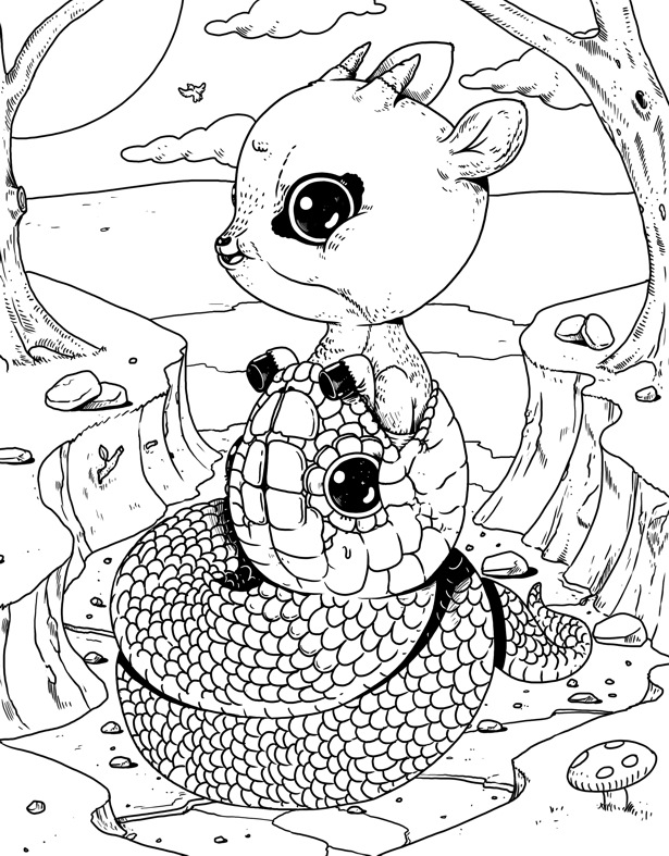 The Cruelty of Nature is Extra Cute in this Adult Coloring