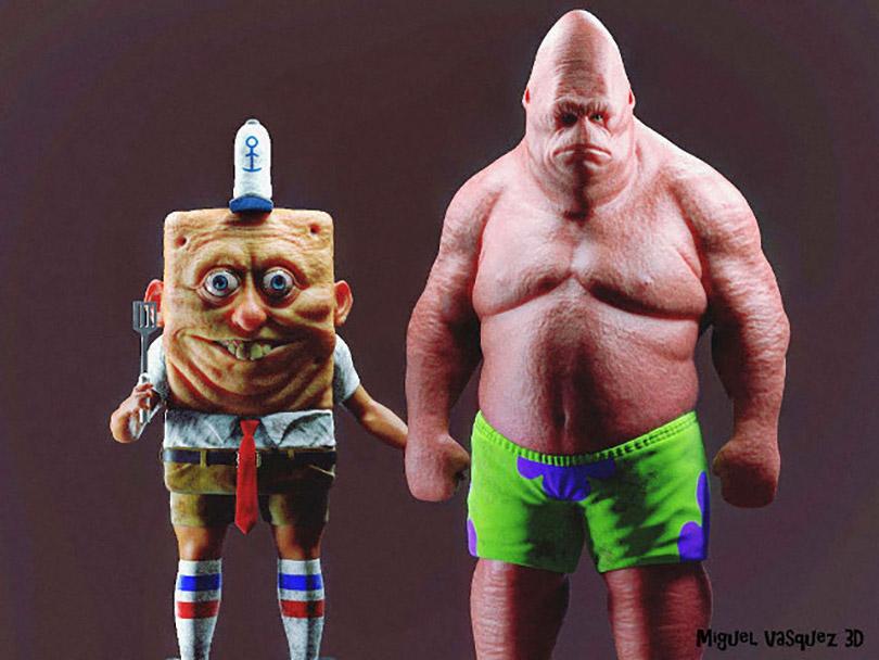 Artista retrata de forma assustadora Bob Esponja e Patrick como humanos