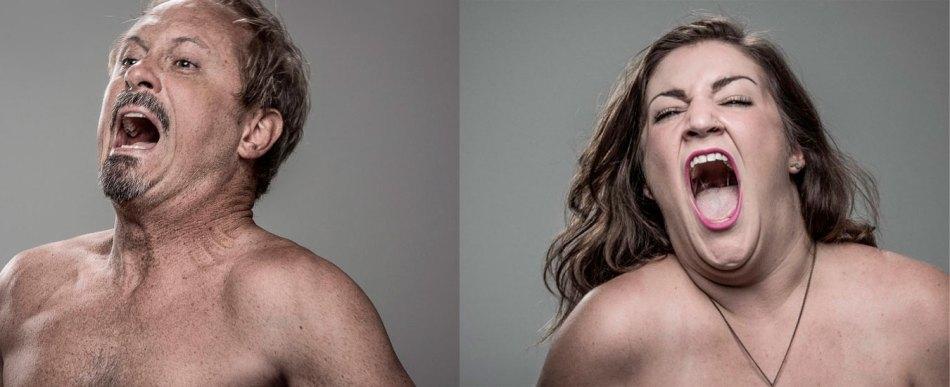 Retratos de pessoas que levam choque com uma arma taser