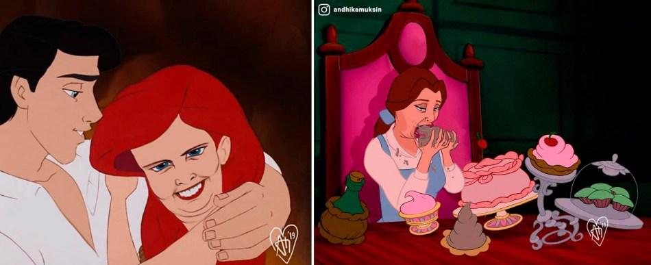 Princesas Disney em poses realistas pelo artista Andhika Muksin