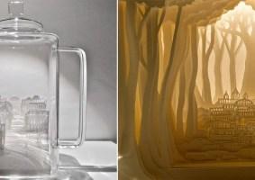 Artes com folhas de papel sob os conceitos de Yin-Yang