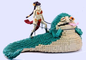 Leia e Jabba de LEGO recriam cena de Star Wars