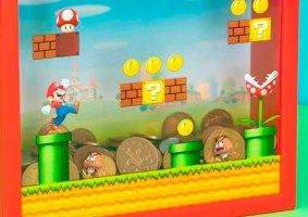 Um pequeno banco de moedas do Super Mario