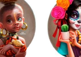 Países como garotas fofas em ilustrações