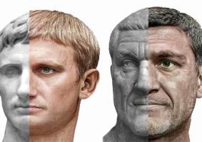 Retratos realistas de imperadores romanos usando seus bustos