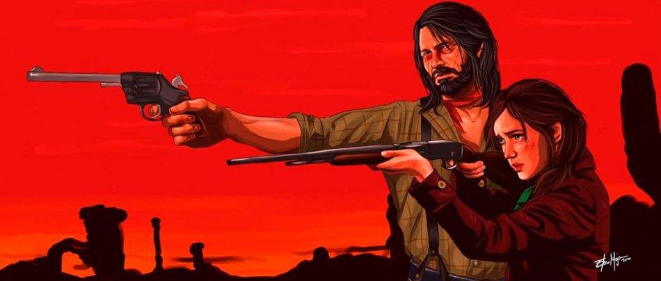 Os personagens de The Last of Us em Red Dead Redemption 2