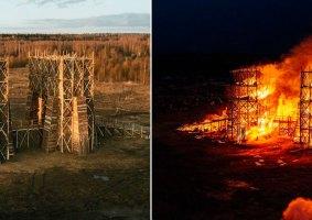 Ponte gigante de madeira é incendiada para celebrar primavera em cidade na Rússia