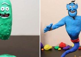 Personagens azuis e verdes em vídeos stop-motion de massinha
