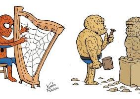 Tirinhas mostram Super-Heróis em suas horas livres