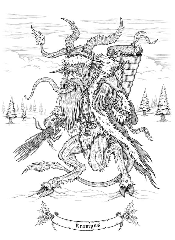 krampus coloring page