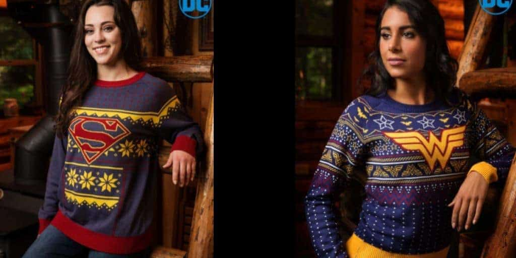 Superman and Wonder Woman Christmas Sweaters