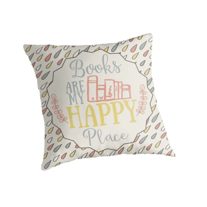 Books Are My Happy Place Throw Pillow