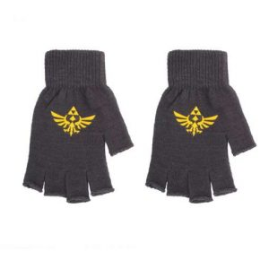 Zelda: Fingerless Gloves with Printed Hylian Crest