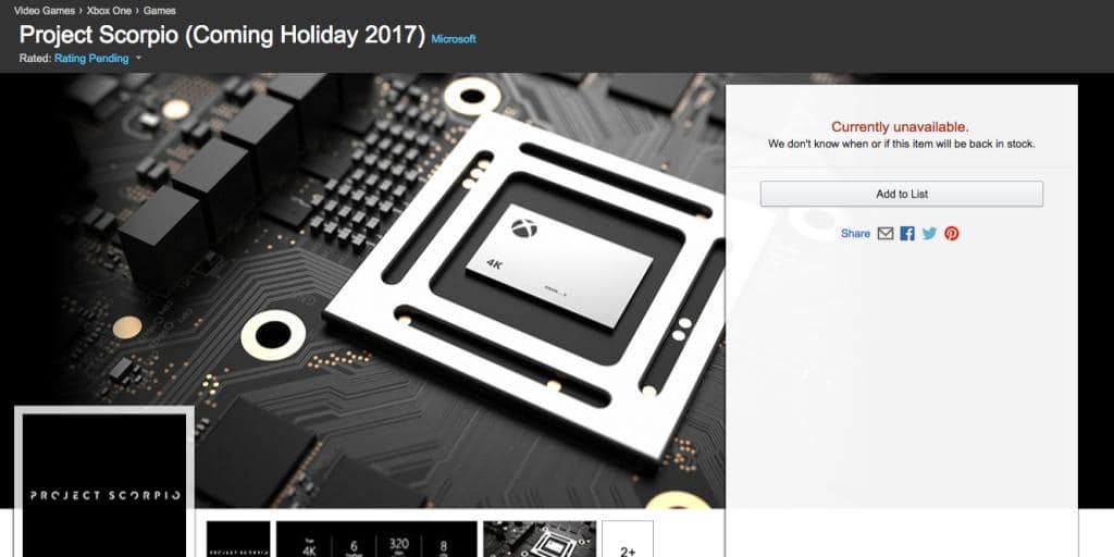 Project Scorpio Available For Pre-Order On Amazon And MS Store