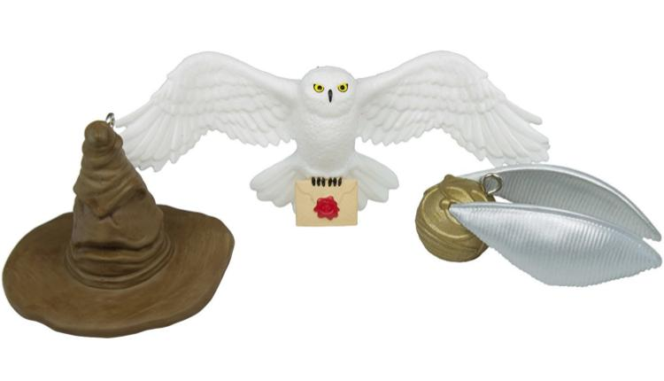 Hedwig, Sorting Hat, and Snitch Ornaments (Hallmark)