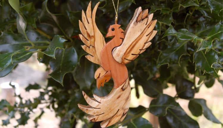 Wooden Phoenix Ornament