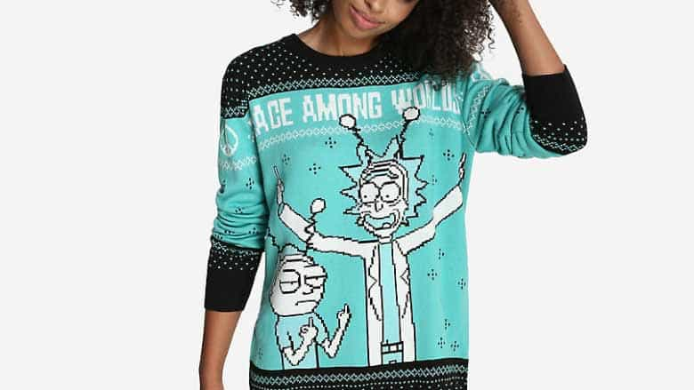 Rick and Morty World Peace Ugly Holiday Sweater