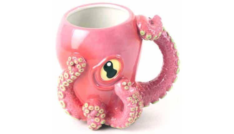 Pink Octopus Ceramic 3D Coffee Mug with Tentacle Handle – $34.99