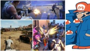 A collage of pictures from PUBG, Fortnite, Overwatch, and a cartoon of Mario dealing mushrooms.