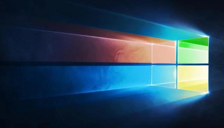 A Microsoft Windows logo with light shining through it.