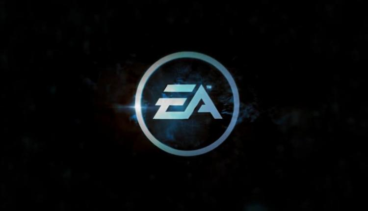 A blue and silver EA logo