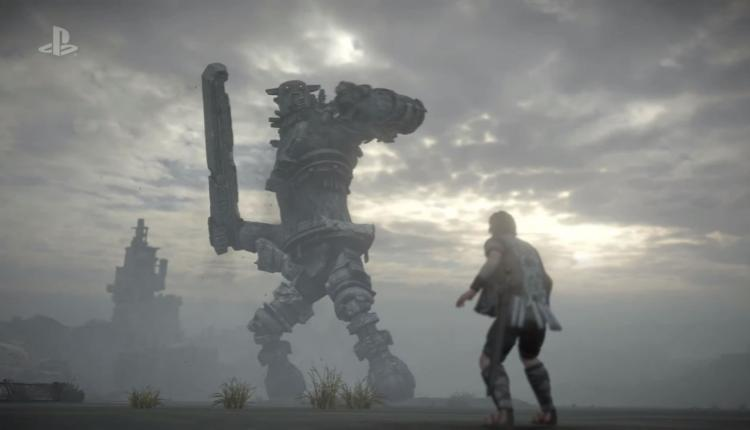 A screenshot of Shadow of the Colossus remake gameplay