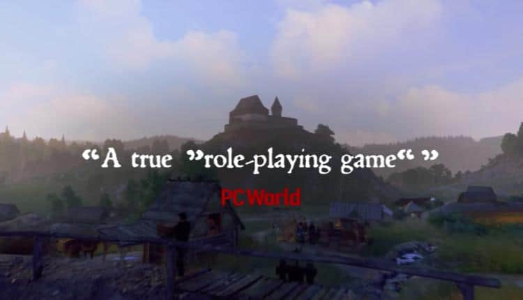 A screenshot of Kingdom Come Deliverance accolade trailer quoting PC World