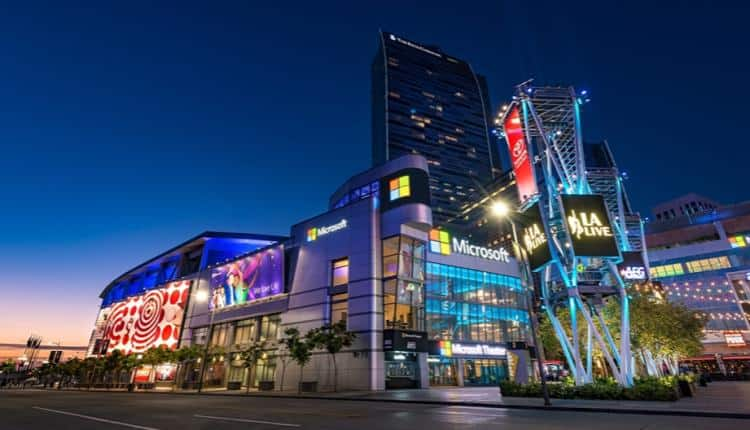 The Microsoft Theater in Los Angeles at night