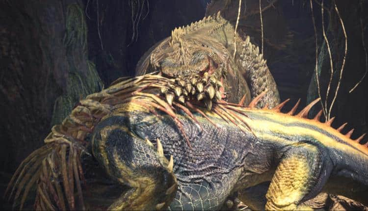 A promotional image of a ne monster added to Monster Hunter World called Deviljho