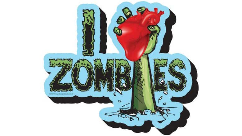 i heart zombies funky chunky magnet