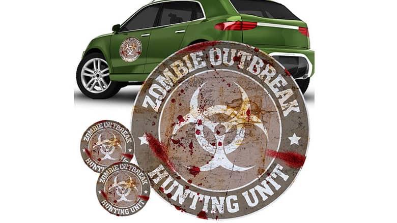 zombie outbreak hunting unit gray car decals