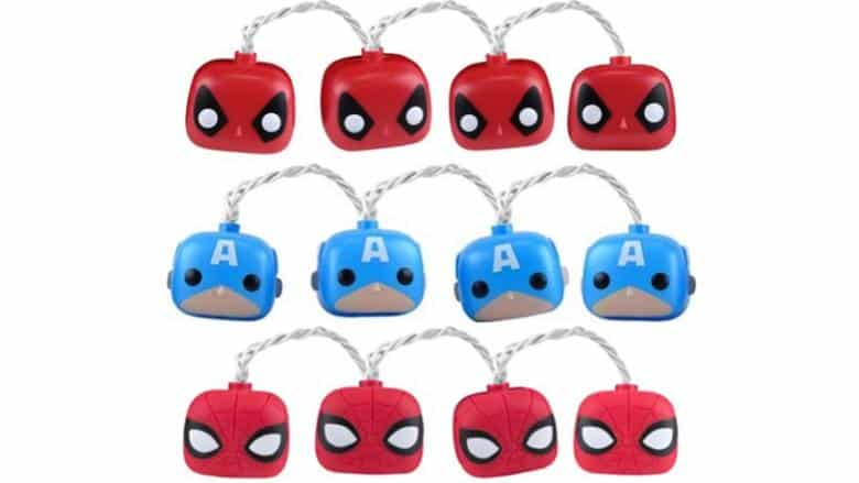 Marvel String Lights: Spider-Man, Deadpool, & Captain America