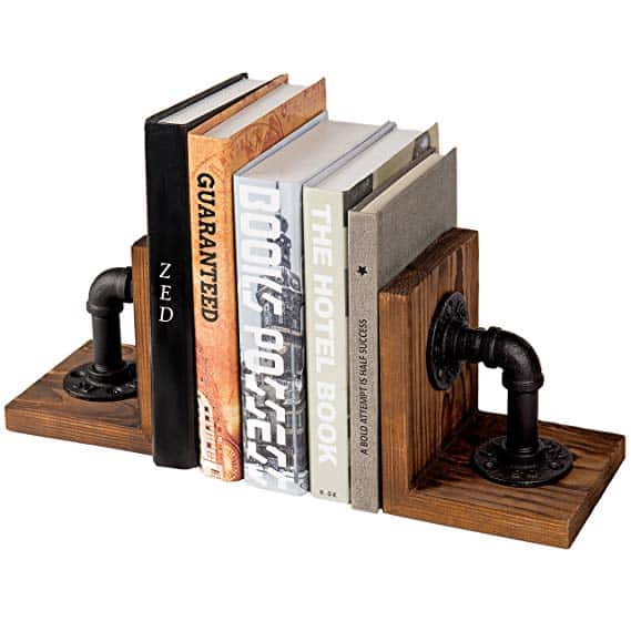 Pipe & Rustic Wood Bookends