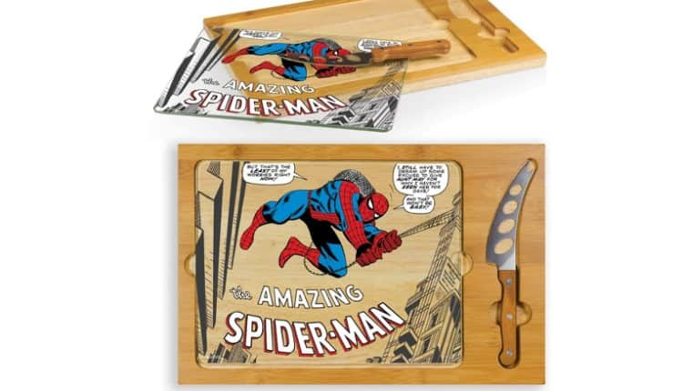 Spider-Man Icon Glass Top Wood Serving Tray with Knife Set by Picnic Time