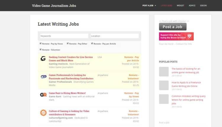 video game journalism jobs
