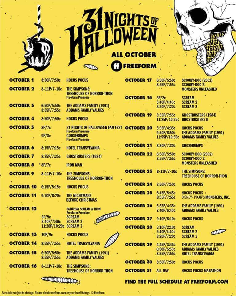 31 nights of halloween 2019 schedule