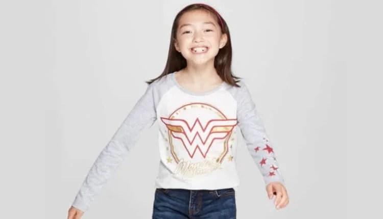 Girls' Wonder Woman Circle Shield Long Sleeve T-Shirt