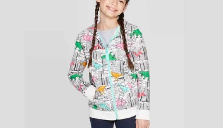 Girls' Long Sleeve Dinosaur Print Hoodie