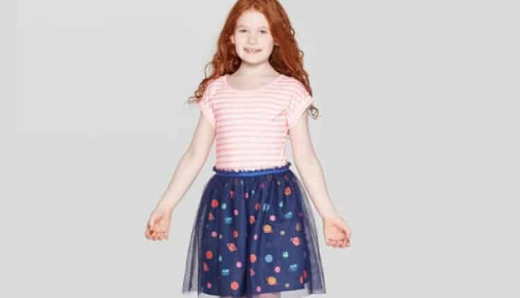 Girls' Space Print Tulle Dress